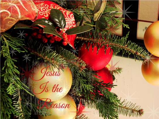 Christmas balls on mirror e w Jesus is the Reason scaled